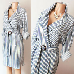 NEW Zara Basic Blue White Stripe Belted Wrap Button Down Long Sleeve Shirt Dress $24.99