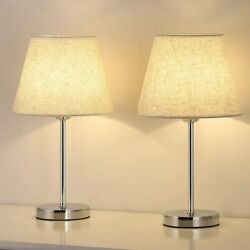 Set of 2 Small Table Lamp Bedside Desk Lamp Nightstand Lamp Bedroom Living Room $26.99