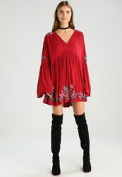 FREE PEOPLE RED TE AMO EMBROIDERED BOHO BELL SLEEVE TUNIC MINI DRESS M NWT $44.99