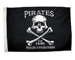 PIRATES FOR HIRE 12quot; x 18quot; Two Sided Black Flag Polyester 200Denier USA $18.95