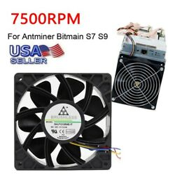 7500RPM Cooling Fan Replacement 4-Pin Connector For Antminer Bitmain S7 S9 $13.99