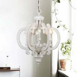 6-light Distressed Antique White Wooden Chandelier White NA $161.54
