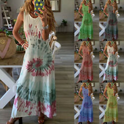 NEW Women Casual Long Maxi Dress Ladies Summer Print Beach Sleeveless Sundress $8.99