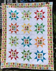 """Dogs quilt Sawtooth Star Assorted bright colors 53""""x67"""" Large Lap Handmade USA $220.00"""
