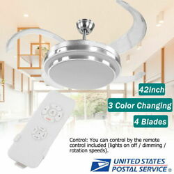 42quot; Retractable Ceiling Fan Lamp w Light Remote Control Dimmable LED Chandelier $108.65