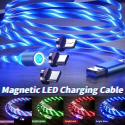 Magnetic LED Light Up USB Phone Lightning Charging Cable for iPhone Type C Micro $6.99