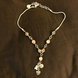 Brighton Silver Baby Pink Breast Cancer Awareness Beaded 19in Charm Necklace $10.00