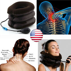 Air Inflatable Pillow Cervical Neck Head Pain Traction Support Brace Device USA $11.99