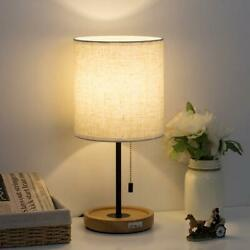 Bedside Table Lamp Modern Nightstand Lights with Linen Fabric Wooden Desk Lamps $23.99