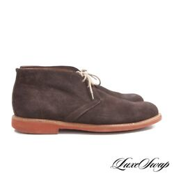 Barneys NY Made in Italy Lightweight Cigar Suede Brick Sole Chukka Boots 11 NR $15.50