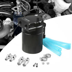 Black Aluminum Baffled Oil Catch Can Tank Reservoir Breather With Fittings J6I4 $24.00