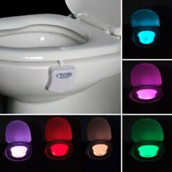 8 Color Toilet Night Light LED Motion Activated Sensor Bathroom Bowl Seat Lamp $4.88