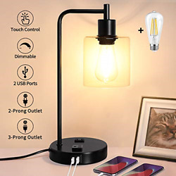 QiMH Table Lamp for BedroomTouch Control Bedside Lamp with USB PortOutlet Lamp $72.84