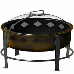 Landmann 21865 7 Inch Deep Antique Bronze Finish Wood Burning Bromley Fire Pit