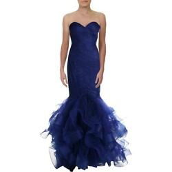 Terani Couture Blue Mermaid Prom Ruffled Formal Dress Gown 2 BHFO 7848 $62.02