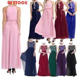 US# Women Lace Maxi Evening Party Cocktail Formal Long Bridesmaid Dress Wedding