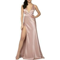 Terani Couture Pink Satin Prom Deep V Formal Dress Gown 4 BHFO 8956 $45.22