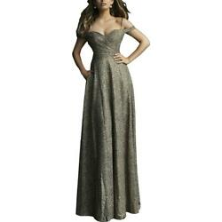 Jovani Gold Metallic Prom Off-The-Shoulder Formal Dress Gown 4 BHFO 1408 $70.14