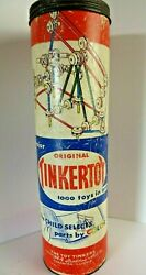 Vintage Spalding Original Tinkertoy Canister with 100 pieces #1329 $25.95