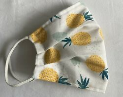 Fashionable Bright Pineapple Double Layered Washable 100% Cotton Face Mask $5.99