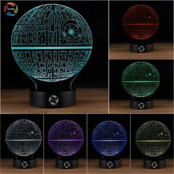 3D Star Wars Death Star 7 LED Color Changing Optical Illusion Night Light $12.99