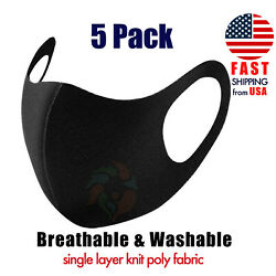 [5 PACK] Black Face Mask Breathable 1-LAYER Knit Fabric Mouth Cover-ALIEN JUNKIE $7.99
