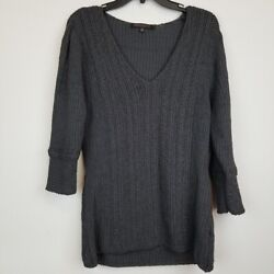 Robert Kitchen Canada Gray 3 4 sleeve knit top Size Large Pullover Lightweight $18.67