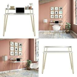 White Gold Legs Computer Write Desk Laptop Stand Table Shelves Home Office Study $97.99