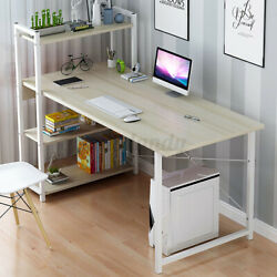 Computer Desk Table Laptop Display & 4-Tier Bookshelf Study Writing Home Office  $69.69