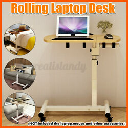 Rolling Height Angle Adjustable Laptop Desk Overbed Food Tray Table Wood  $44.89