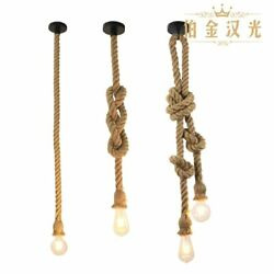 Industrial Hemp Rope Pendant Light Ceiling Vintage Edison Lamp Hanging Fixture $7.95