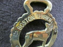 quot;Boston Terrierquot; Dog Breed quot;Pquot; Engraved Horse Brass Harness Bridle Medallion 3 $8.95