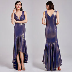 Ever Pretty Long Evening Dress V Neck Bodycon Gold Cocktail Dresses Prom Gown $10.99