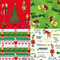 BTHY Holiday Seuss How The Grinch Stole Christmas Cotton Fabric By The Half Yard $8.50