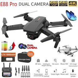 E88 Drone WIFI FPV 4K HD Duble Camera Foldable Selfie RC Quadcopter 360° Drones $44.64