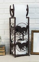 Cast Iron Western Rustic Horse And Horseshoes Toilet Paper Holder Stand Station $54.99