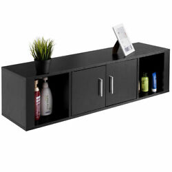 Wall Mounted Floating Desk Hutch Wall Shelf Cabinet Storage Shelves with 2 Door $79.59