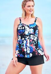 Swimsuits for All Women#x27;s Plus Size Flyaway Tankini Top w Bust Support $40.28