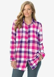 Woman Within Women#x27;s Plus Size Classic Flannel Shirt $23.24
