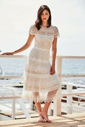 NEW TADASHI SHOJI White Nude NIXIE Romantic Lace Belted Tea Length Midi Dress 16