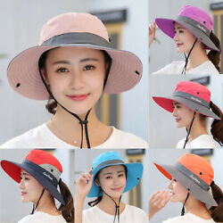 Women UV Protection Cap Foldable Mesh Sun Wide Brim Summer Beach Fishing Hat New $11.58