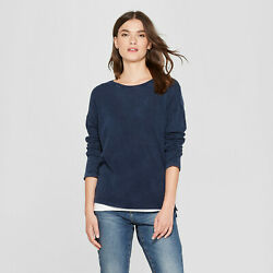 NWT Womens Drop Shoulder Long Sleeve TShirt Universal Thread Navy Medium $14.99