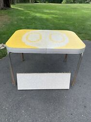 1950's Vintage Mid Century Modern Chrome Kitchen Table Yellow Formica Top  $100.00