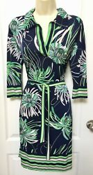 Mlle Gabrielle Small S 4 6 Navy Blue White Green Tropical Floral Belted Dress $18.95