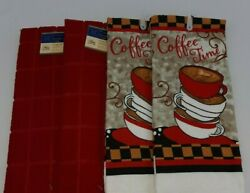 NEW 2 Red amp; 2 Coffee Themed Kitchen Dish Hand Towels Windowpane FREE SHIPPING $15.99