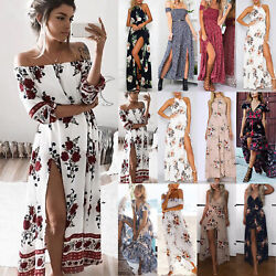Womens Ladies Floral Summer Maxi Dress Split Beach Holiday Party Long Dresses $17.66