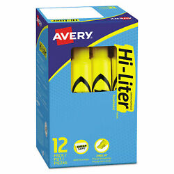 Avery HI-LITER Fluorescent Desk Style Highlighter Chisel Tip Yellow 12-Count $7.99