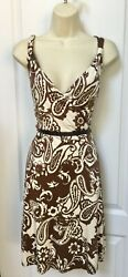 INC Size Small S 4 6 Woman's Ivory Brown Floral Paisley Sleeveless Silk Dress $17.95