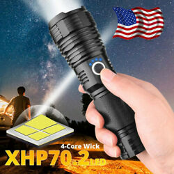 180000LM XHP70.2 Powerful LED Flashlight Rechargeable USB Zoomable Torch 26650 $24.22