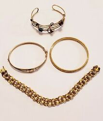 4 Piece Vintage Gold Filled Mixed Style Bracelet Lot - Elco $23.50